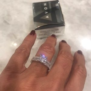 Avon, sterling silver, princess cut square CZ ring